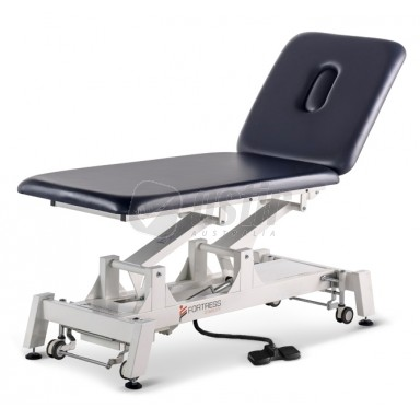 FORTRESS STABILITY 2-SECTION / WHITE FRAME / NAVY UPHOLSTERY / ELECTRIC BACKREST / HAND & FOOT CONTROL